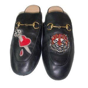 Gucci Princetown Mules Black Tiger Heart Dagger